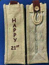 """Hessian / Jute Bottle Bag """"Happy 21st"""""""