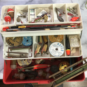 Vintage Fishing Tackle Box Wooden Lures, Floats, Vintage Spinners,line