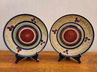 "Set of 2 Royal Norfolk Red/Blue/Green Olive Leaves Swirl 10 5/8"" Dinner Plates"