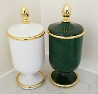 POMD'OR Bathroom Canisters White or Green & Gold