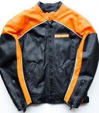 Pac-Man Leather Race Jacket Orange & Black Men's Small racer Burk's Bay