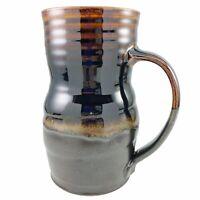 KYB Large Stoneware Pottery Mug Tankard Studio Pottery Brown Drip Glaze Vintage