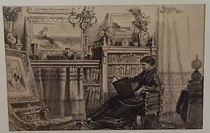 """Victorian James D. Smillie etching """"Detached Thoughts"""" signed & dated 1883"""