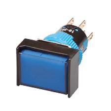 PULSANTE LUMINOSO RETTANGOLARE LED BLU 12V FORO D=16mm CONTATTO 1NANC