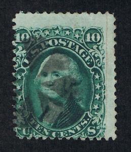VERY AFFORDABLE GENUINE SCOTT #68 USED 1861 10¢ GREEN CORK CANCEL - ESTATE SALE