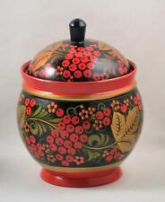 Russian Trinket Box Wooden Goblet With Lid Khokhloma Hand Painted