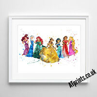 DISNEY PRINCESS Print Poster Watercolour Framed Canvas Wall Art Nursery Gift