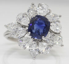 GORGEOUS PLATINUM RING WITH 4.52 CTW SAPPHIRE AND DIAMONDS, GIA! NO HEAT #T18