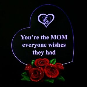 Mothers Day Best Gifts for MOTHER'S Gift for MOM Heart LED Light w/Rose Base USA