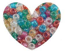 GLITTER PONY BEADS 1 LB Pound Transparent Plastic - Raver, Kids Crafts, Kandi