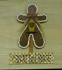 """Handmade Wood Gingerbread Man Accented With Birdhouse & Heart 21"""""""