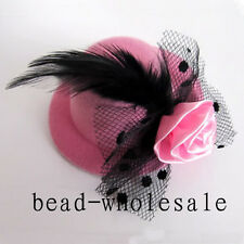 Ladies Elegant Hair accessory clip mini top hat handmade feather net party gift