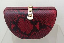 Rebecca Minkoff Leather  Clutch PARKER RED Snake Convertible minaudiere NEW