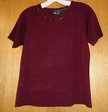 Womans sz S - Maroon fine knit SWEATER - Kathie Lee TOP - beads & chenille - WOW