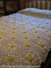 Vintage Crochet Pineapple  3D Yellow Rosette Tablecloth Throw Canopy 90x64