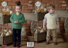 King Cole Childrens Aran Knitting Pattern Cable Detail Sweater & Slipover 4562