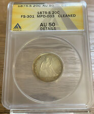 1875-S Twenty Cent Piece 20c ANACS AU-50 Cleaned AH936