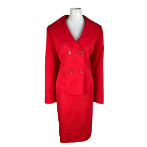 New ISABELLA 2PC Red Cotton Polyester Lined Double Breasted Skirt Suit Size 18