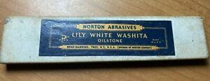 Vintage NORTON LILY WHITE WASHITA Oilstone Sharpening Honing Stone (A25)