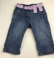 Gymboree Baby Girl 6-12 Mo Pull On Jeans Pants Cuddly Lambs Purple Ribbon Detail