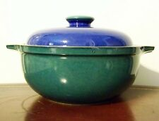 Denby Harlequin 1.5 Quart Round Covered Casserole Blue Green England