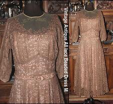 Antique Vintage 30s ECRU & pink Lace Beaded bodice, belt, tafetta Dress + SLIP M