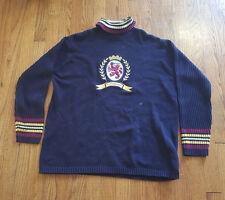 Tommy Hilfiger Turtleneck Sweater Sewn Big Lion Crest LARGE Navy knit VTG 90s