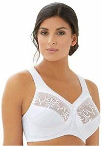 Glamorise Women's Plus-Size Embroidered Magic Lift Bra, White,, White, Size 46C