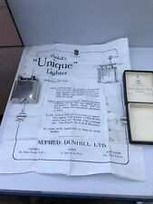 Dunhill Unique A Solid Silver Petrol Wick Cigarette Lighter 1926 Boxed Paperwork