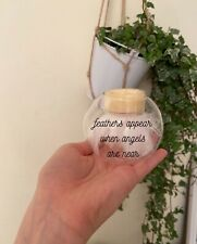 Feathers Appear When Angels Are Near - Memorial Tea Light Holder - Home/ Wedding
