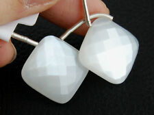 AAA Natural White Moonstone Cushion Briolette Gemstone Beads Matched Pair 20.5mm