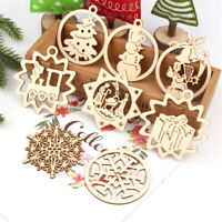 10pcs Wooden Christmas Chip Tree Ornaments Xmas Hanging Pendant DIY Party Decor