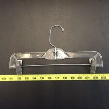 """CLEAR PLASTIC SKIRT/PANTS HANGER 12""""WITH METAL CLIP HEAVY WEIGHT 100/CASE, USED"""