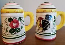 VTG Ucagco PY Early Provincial Rooster and Roses salt pepper with sticker & stop