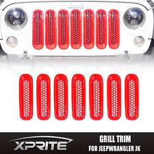 7 pcs Red Front Grille Mesh Insert Cover Trim Set Fits 07 -18 Jeep Wrangler JK