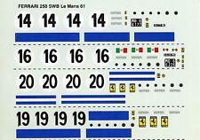 FERRARI 250 SWB N°14/16/19/20  LE MANS 1961 DECALS 1/43
