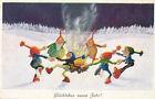 Glückwunsch-Karte Glückliches neues Jahr Zwerge Tanzen am Feuer (CC23) (13)