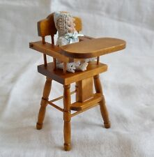 1/12th Dolls House Period Vintage High Chair & Baby