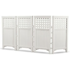 Suncast Outdoor Garden Yard 4 Panel Screen Enclosure Gated Fence, White FS4423