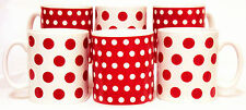 Red Dots and Spots Mugs Set 6 Red & White Porcelain Mugs Decorated in the U.K.