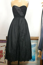 New listing Vintage 60s Black Strapless Embroidered Morton Myles Glam Formal Cocktail Dress