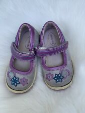 Baby Girl's Cute Stride Rite Silver Purple Mary Jane Walking Shoes Size 5.5 M