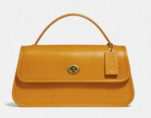 Coach turnlock clutch Leather Crossbody Top Handel Satchel ~NWT~ Yellow 129