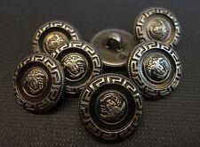 6 Stück Knöpfe, Knopf, Öse, Medusa, antikes Muster bronce, geprägt, Ø 15 mm, K73