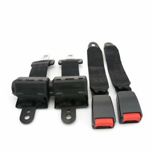 2Sets Fit Wolseley 2 Point Harness Safety Seat Belt Retractable Black Car Truck