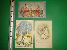 JD498 Vintage LOT of 3 Easter Postcards Albino Rabbits Bunnies Eggs