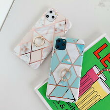 Metal Finger Ring Marble IMD Soft Silicone Phone Case Cover For Cellphone