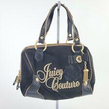 Juicy Couture Handbag Black Velvet Gold Charm Accents Small Cute Purse Zip Up