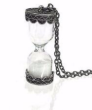 White Sand Silver Hourglass Necklace Pendant Classic Style Steampunk Punk Timer