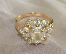 18k ct Yellow Gold Filled Luxury Fashion Women's Ring with Zircon Stone - Size 8
